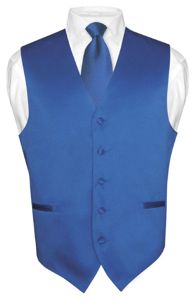 Men's Dress Vest & NeckTie Solid ROYAL BLUE Neck Tie Set ...