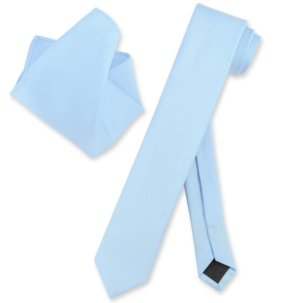 "Vesuvio Napoli Solid BABY BLUE Color Skinny 2.5"" Wide Nec..."