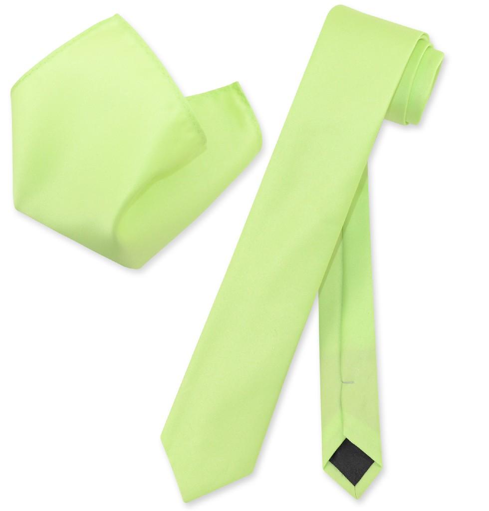 """Vesuvio Napoli Solid LIME GREEN Color Skinny 2.5"""" Wide Ne..."""
