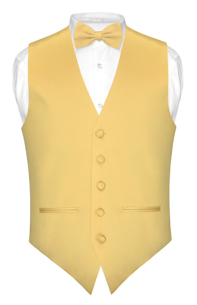 Men's SLIM FIT Dress Vest & BowTie Solid GOLD Color Bow T...