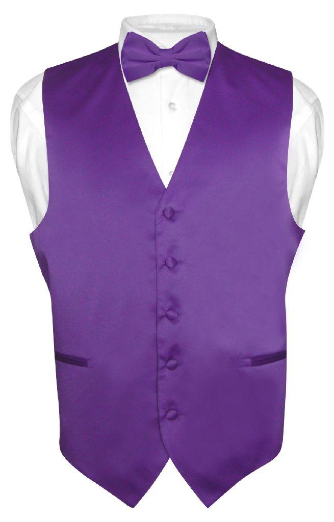 Men's Dress Vest & BowTie Solid PURPLE INDIGO Color Bow T...