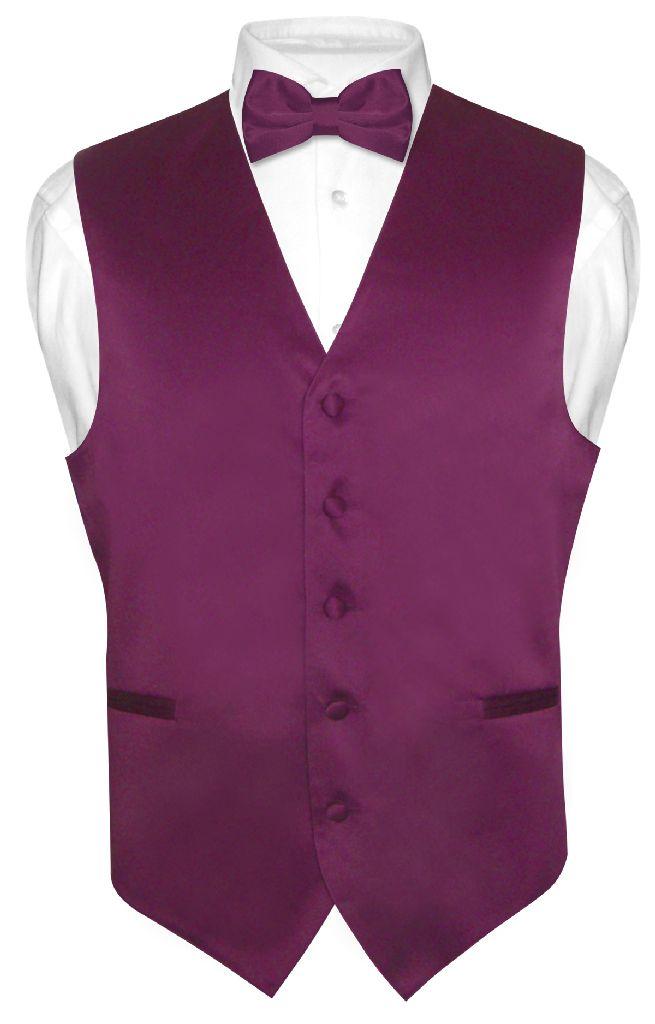 Men's Dress Vest & BowTie Solid EGGPLANT PURPLE Color Bow...