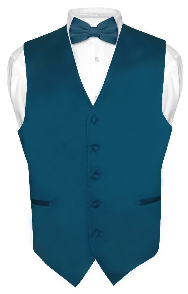 Men's Dress Vest & BowTie Solid BLUE SAPPHIRE Color Bow T...