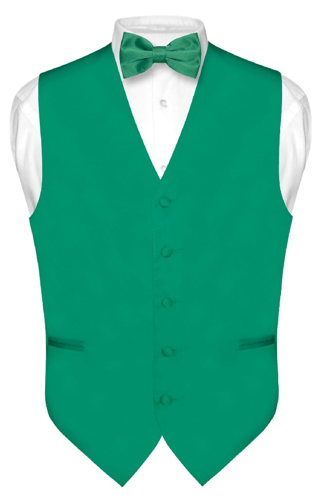 Men's Dress Vest & BowTie Solid EMERALD GREEN Color Bow T...