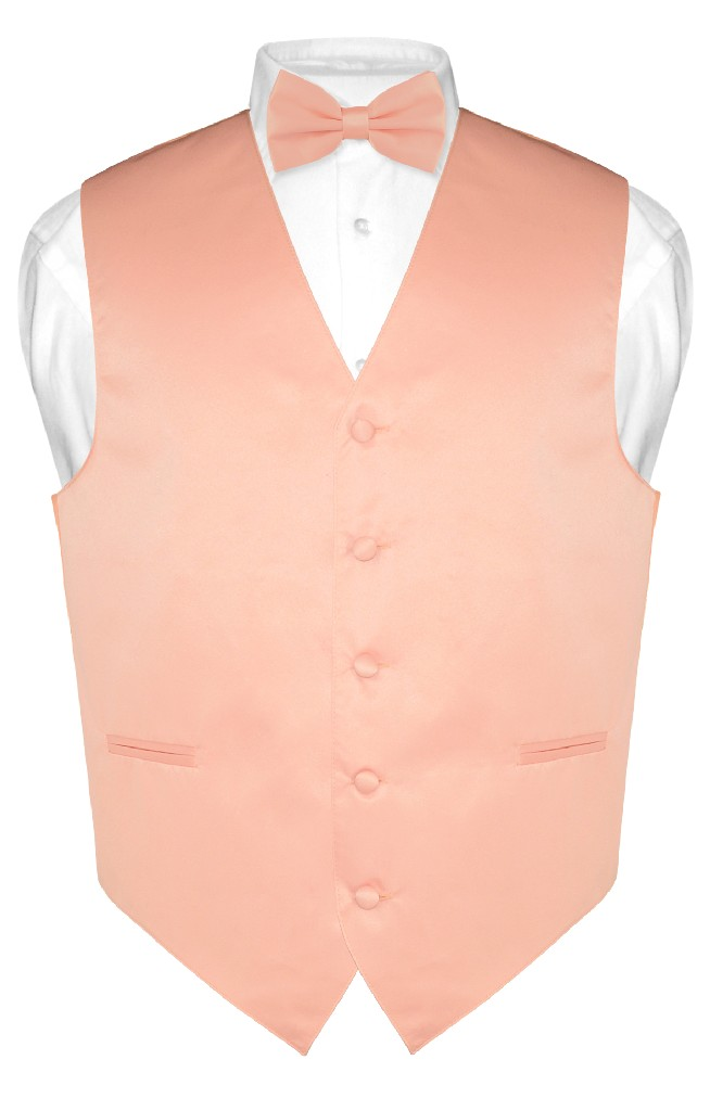 Men's Dress Vest & BowTie Solid PEACH Color Bow Tie Set for Suit or Tuxedo 3XL