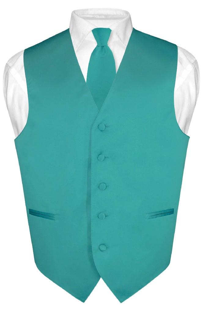 Men's Dress Vest & NeckTie Solid TEAL Color Neck Tie Set ...