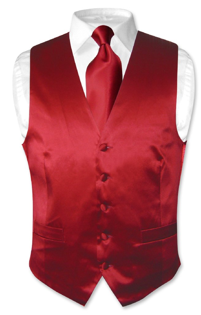 Biagio Men's SILK Dress Vest & NeckTie Solid DARK RED Col...