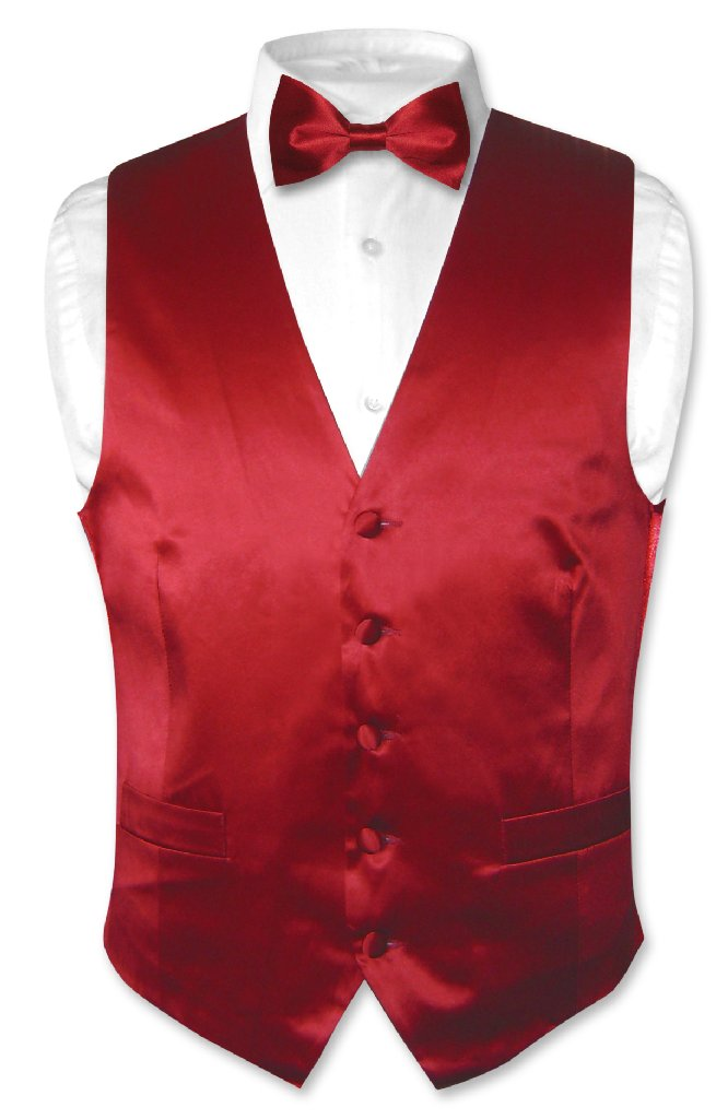 Biagio Men's SILK Dress Vest & Bow Tie Solid DARK RED Bow...