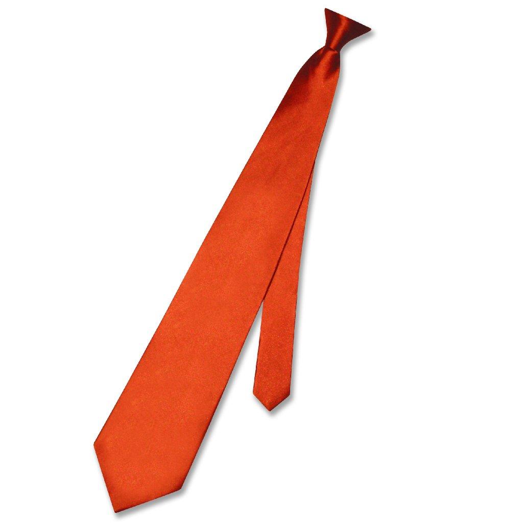 Biagio CLIP-ON NeckTie Solid BURNT ORANGE Color Men's Nec...