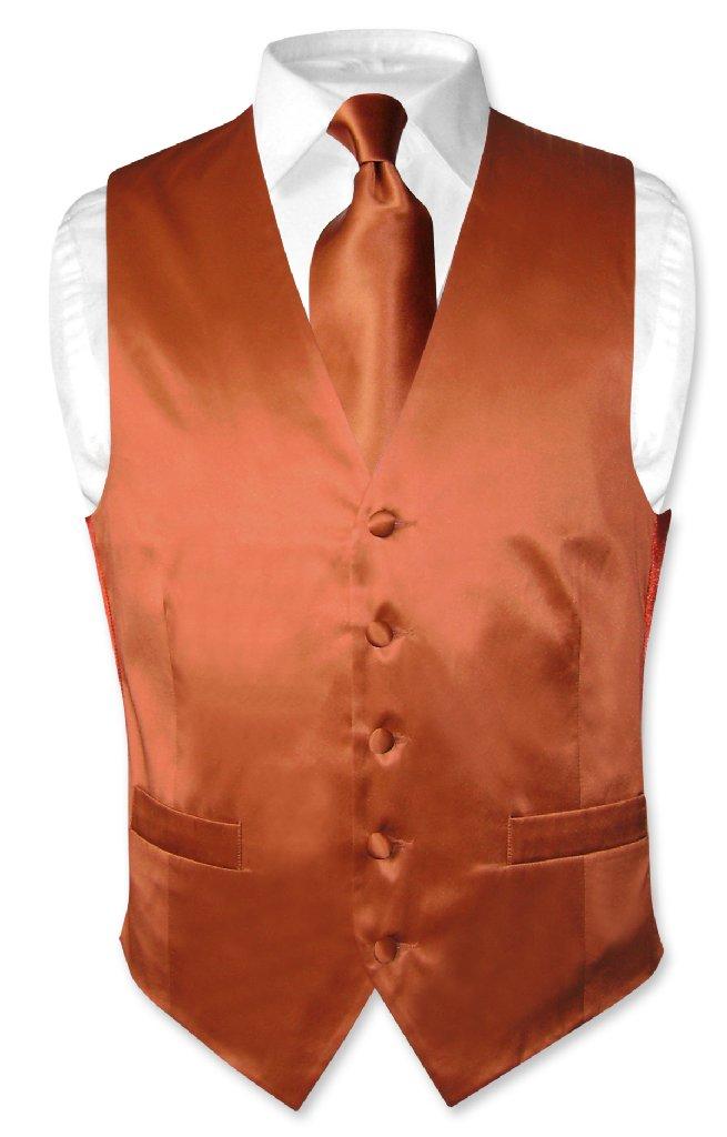 Biagio Men's SILK Dress Vest & NeckTie Solid BURNT ORANGE...