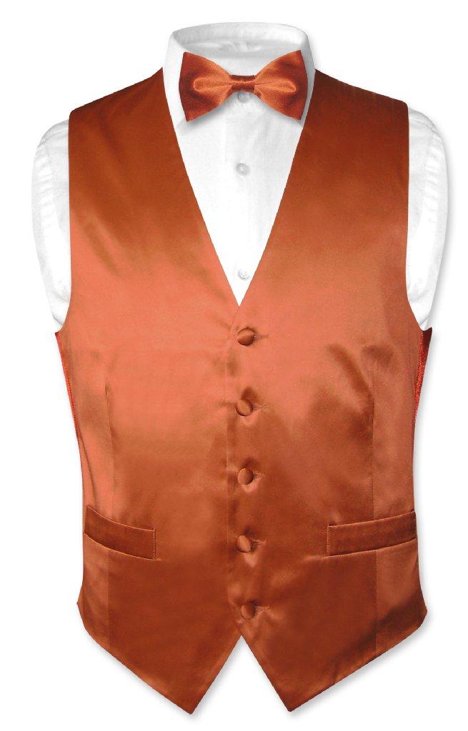Biagio Men's SILK Dress Vest & Bow Tie Solid BURNT ORANGE...
