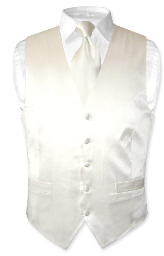 Biagio Men's SILK Dress Vest & NeckTie OFF-WHITE / IVORY ...