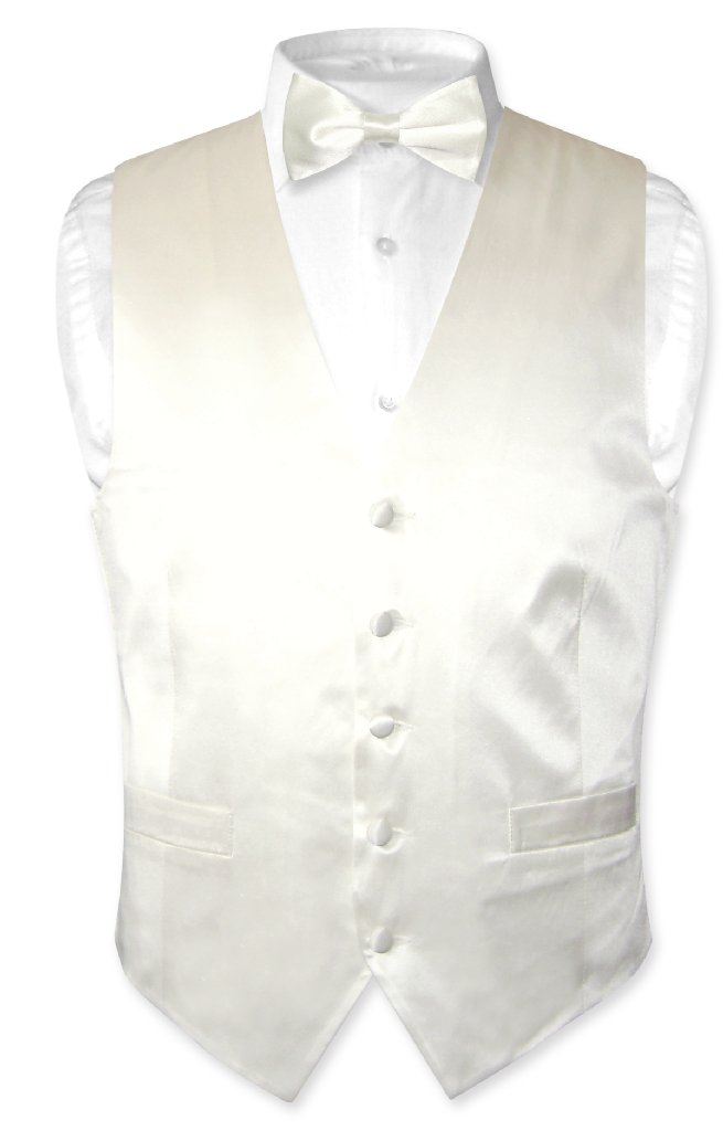 Biagio Men's SILK Dress Vest & Bow Tie OFF-WHITE IVORY Co...