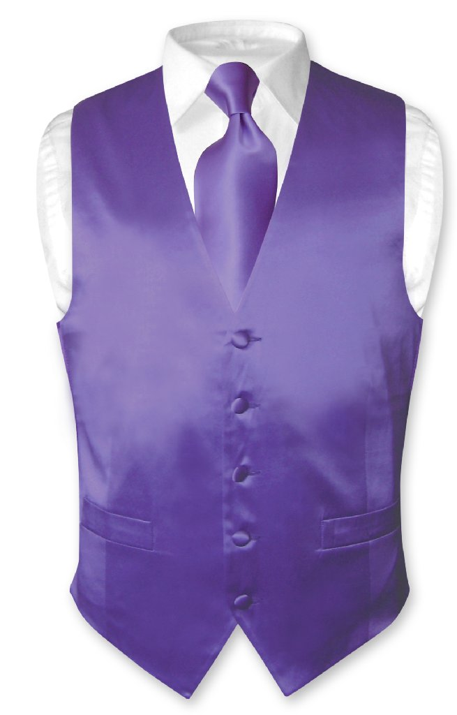 Biagio Men's SILK Dress Vest & NeckTie Solid PURPLE Color...