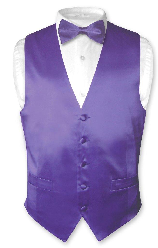 Biagio Men's SILK Dress Vest & Bow Tie Solid PURPLE Color...