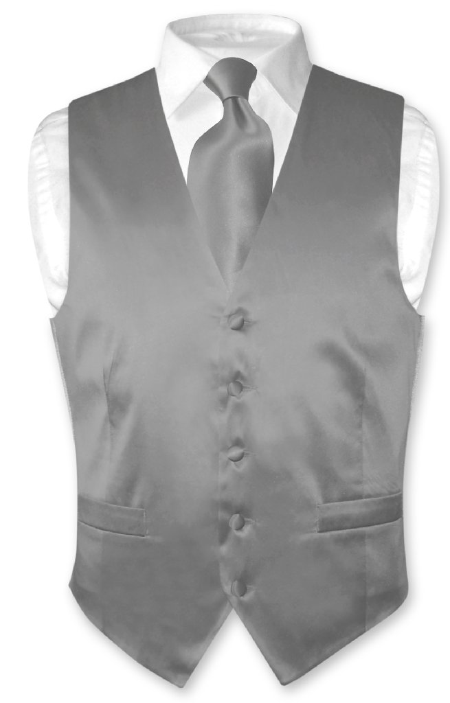 Biagio Men's SILK Dress Vest & NeckTie Solid CHARCOAL GRE...