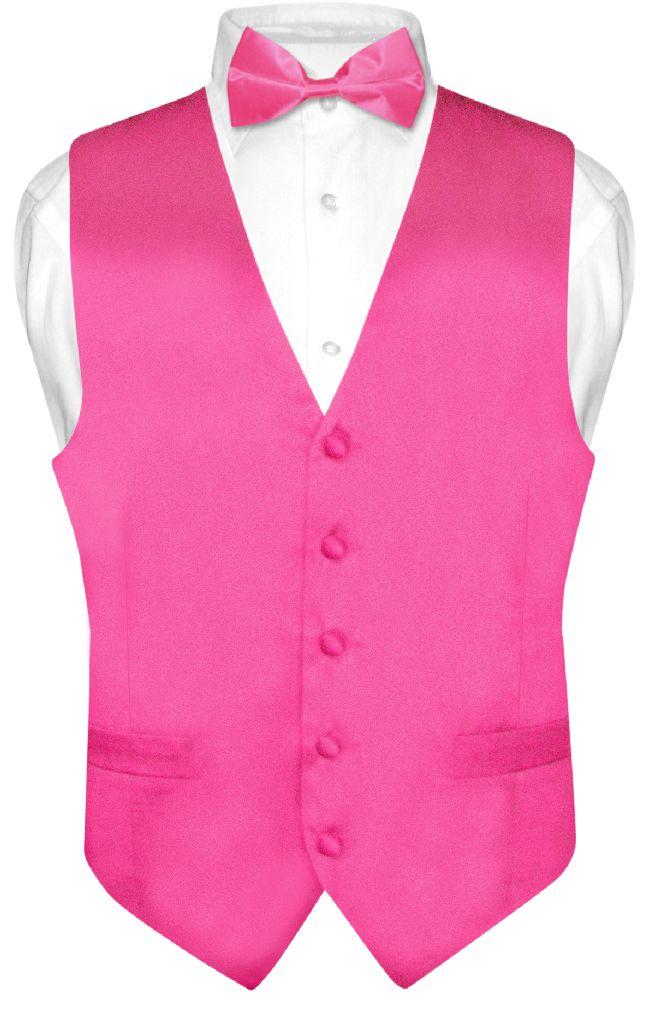 Biagio Men's SILK Dress Vest & Bow Tie Solid HOT PINK FUC...