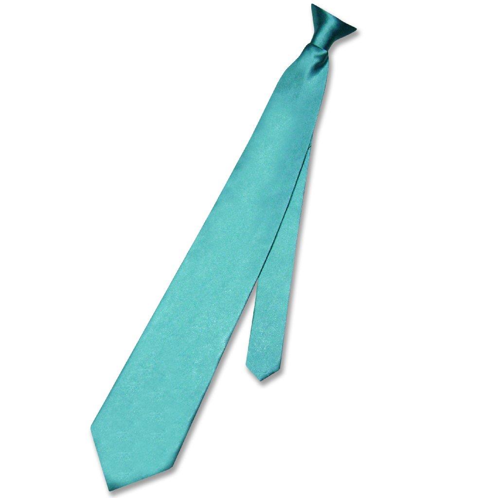 Biagio CLIP-ON NeckTie Solid TURQUOISE AQUA BLUE Color Me...