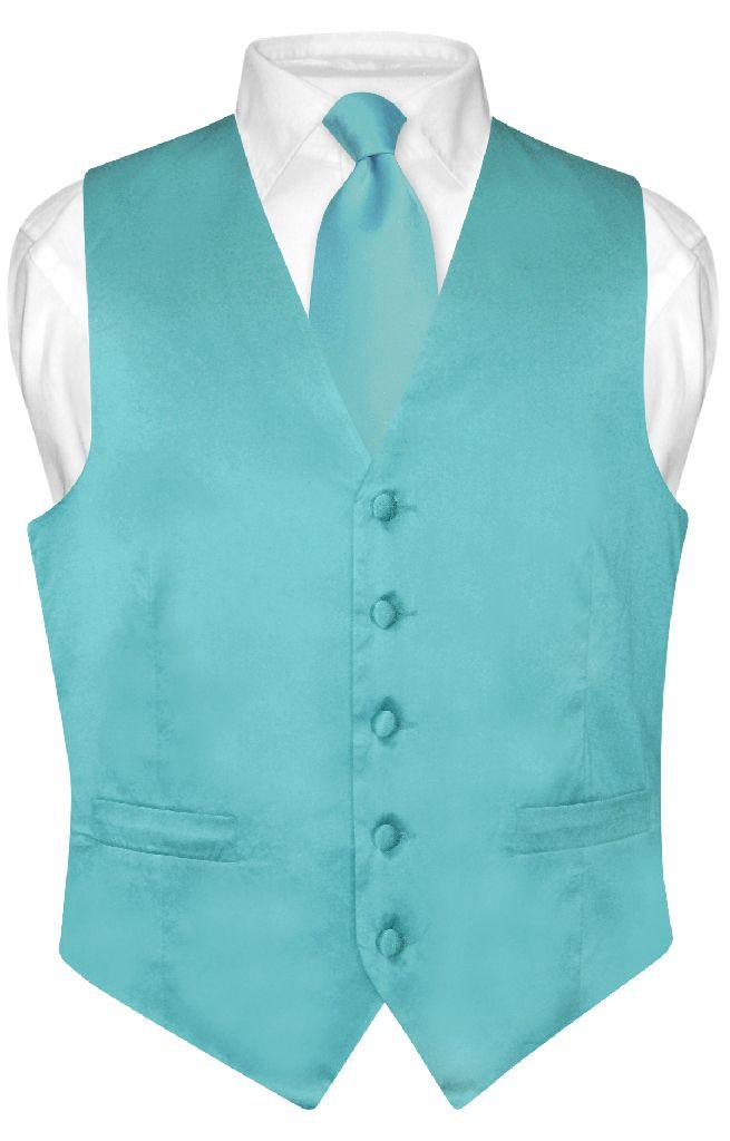 Biagio Men's SILK Dress Vest & NeckTie TURQUOISE AQUA BLU...