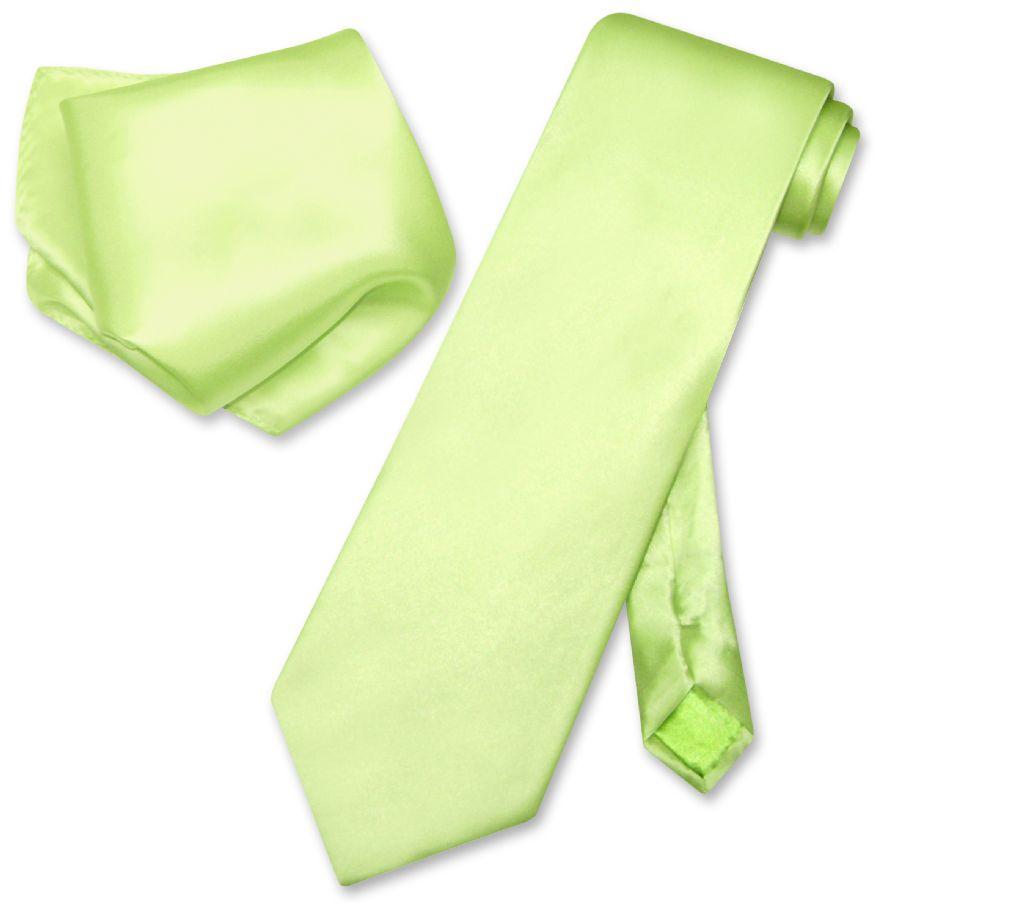 Biagio 100% SILK Solid LIME GREEN Color NeckTie Handkerch...