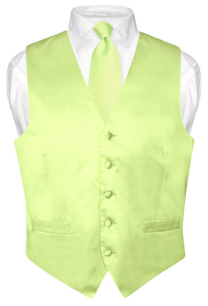 Biagio Men's SILK Dress Vest & NeckTie Solid LIME GREEN C...