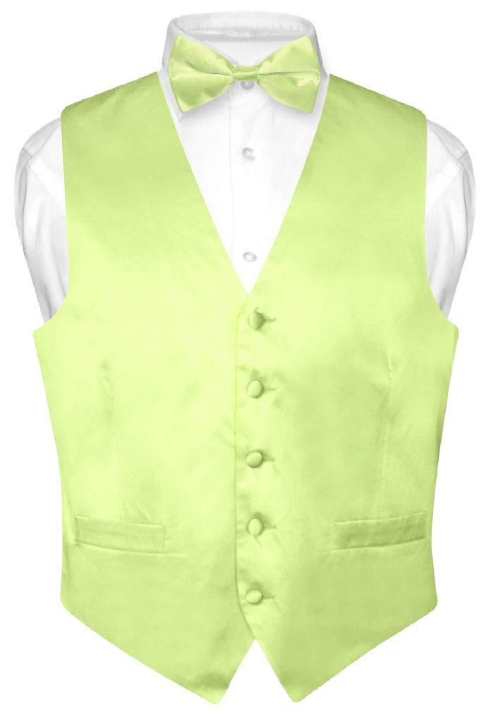 Biagio Men's SILK Dress Vest & Bow Tie Solid LIME GREEN C...