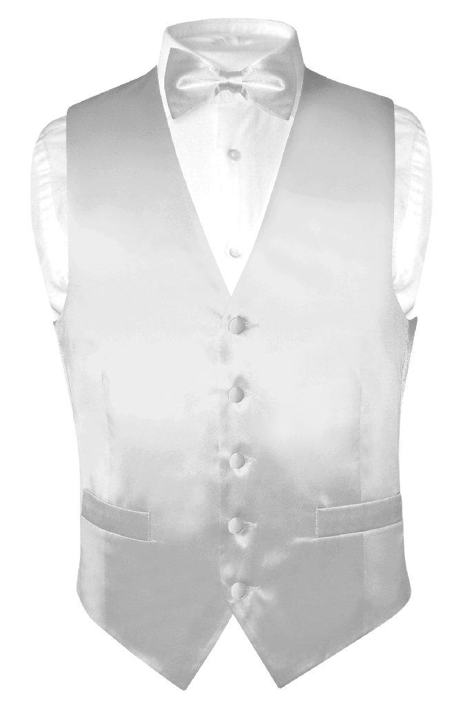 Biagio Men's SILK Dress Vest & Bow Tie Solid SILVER GREY ...