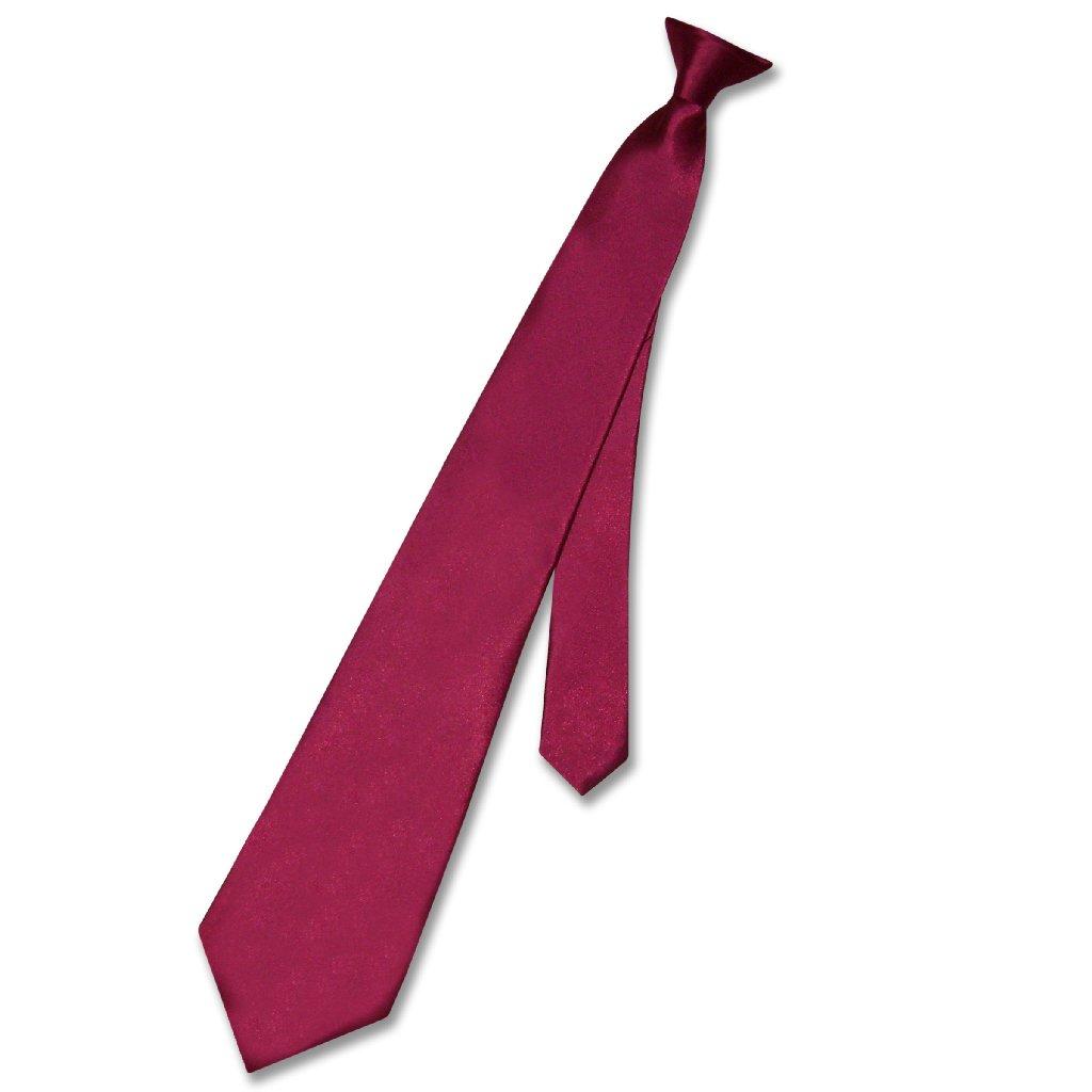 Biagio CLIP-ON NeckTie Solid BURGUNDY Color Men's Neck Tie