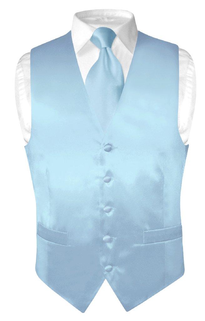 Biagio Men's SILK Dress Vest & NeckTie Solid BABY BLUE Co...