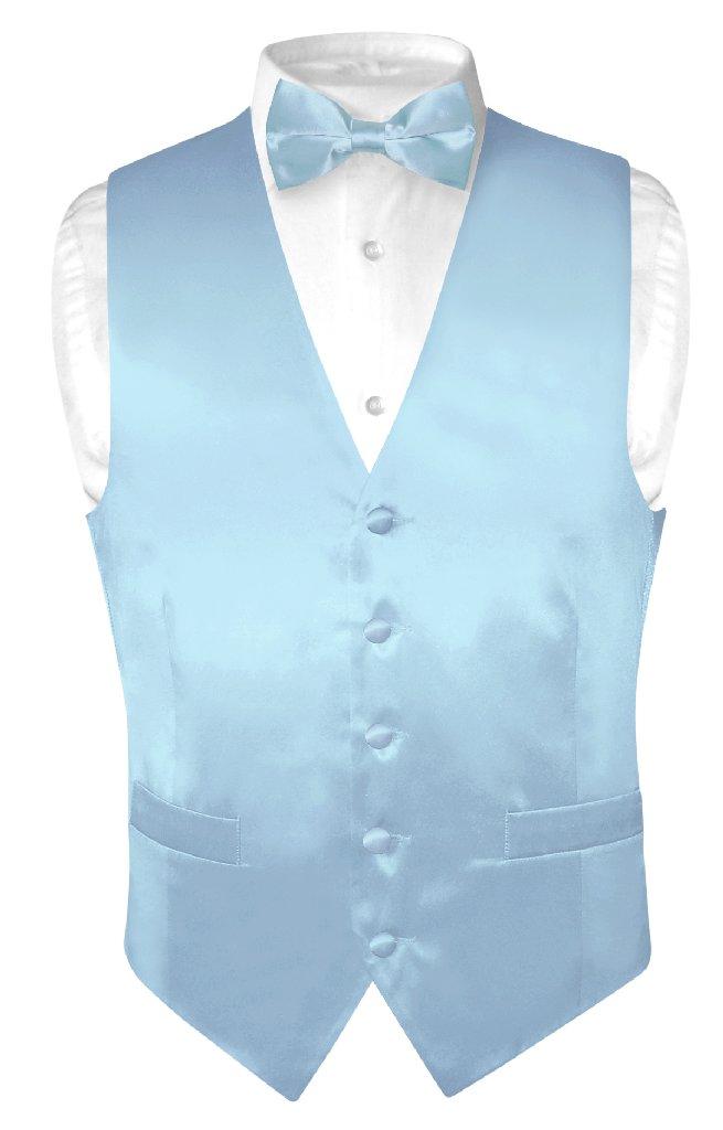 Biagio Men's SILK Dress Vest & Bow Tie Solid BABY BLUE Co...