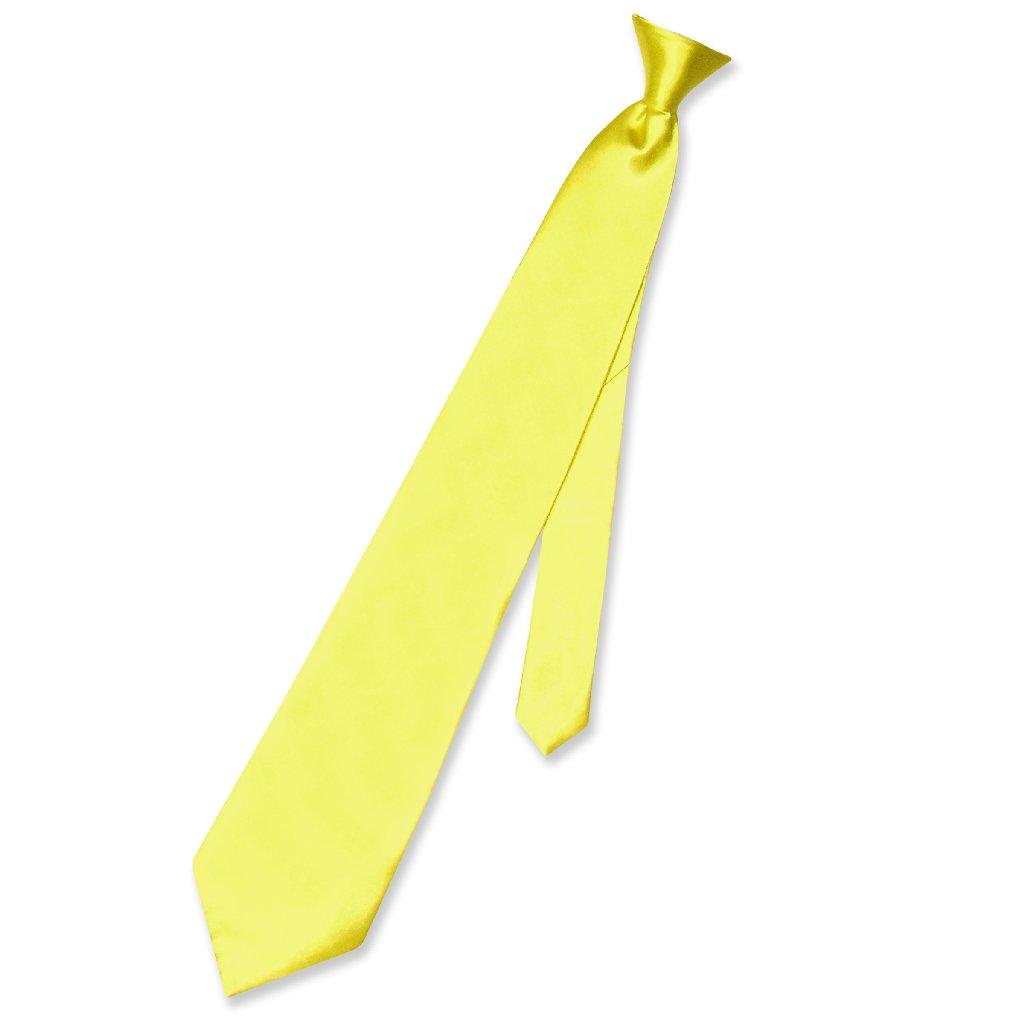 Biagio CLIP-ON NeckTie Solid YELLOW Color Men's Neck Tie