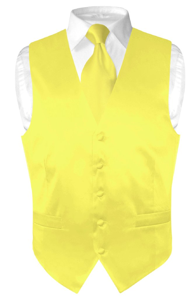 Biagio Men's SILK Dress Vest & NeckTie Solid YELLOW Color...