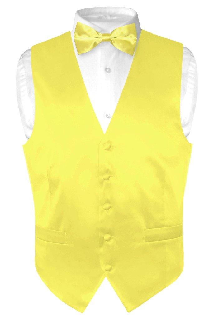 Biagio Men's SILK Dress Vest & Bow Tie Solid YELLOW Color...