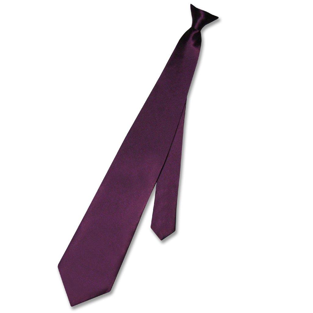 Biagio CLIP-ON NeckTie Solid EGGPLANT PURPLE Color Men's ...