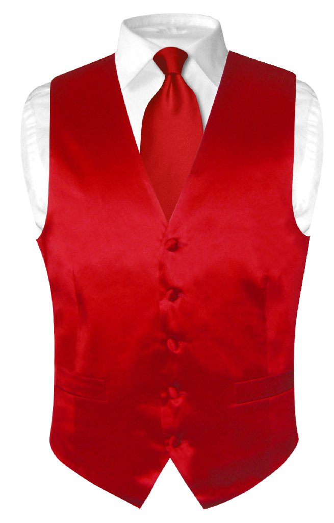 Biagio Men's SILK Dress Vest & NeckTie Solid ROSE RED Col...
