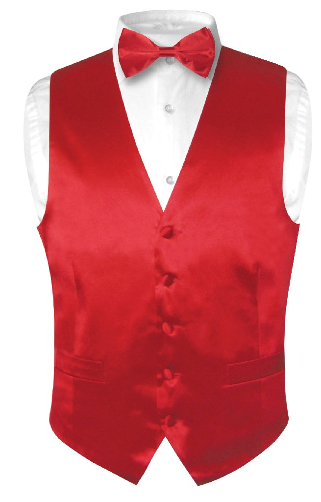 Biagio Men's SILK Dress Vest & Bow Tie Solid ROSE RED Col...