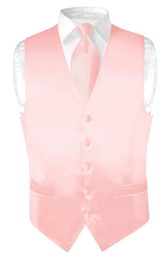 Biagio Men's SILK Dress Vest & NeckTie Solid LIGHT PINK C...