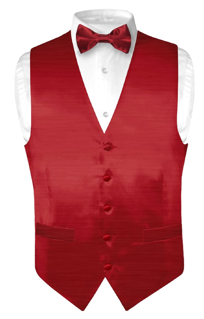 Biagio Men's Solid DARK RED BAMBOO SILK Dress Vest Bow Ti...