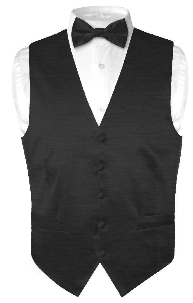Biagio Men's Solid BLACK BAMBOO SILK Dress Vest Bow Tie S...