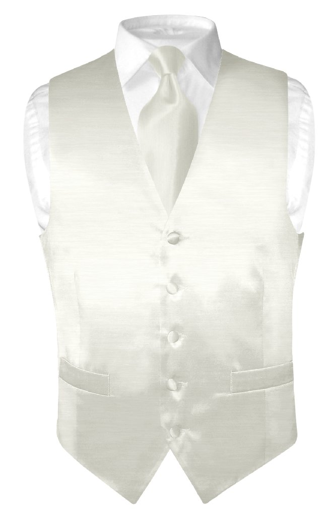 Biagio Men's Solid OFF-WHITE BAMBOO SILK Dress Vest Neck Tie Set size Large