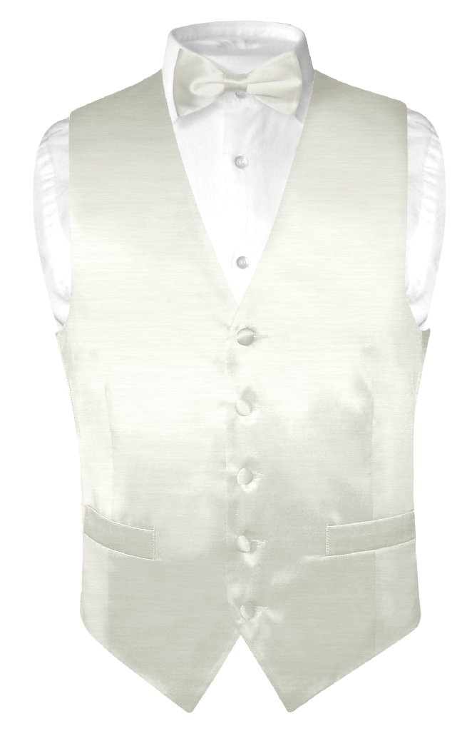 Biagio Men's Solid OFF-WHITE BAMBOO SILK Dress Vest Bow Tie Set size Xlarge