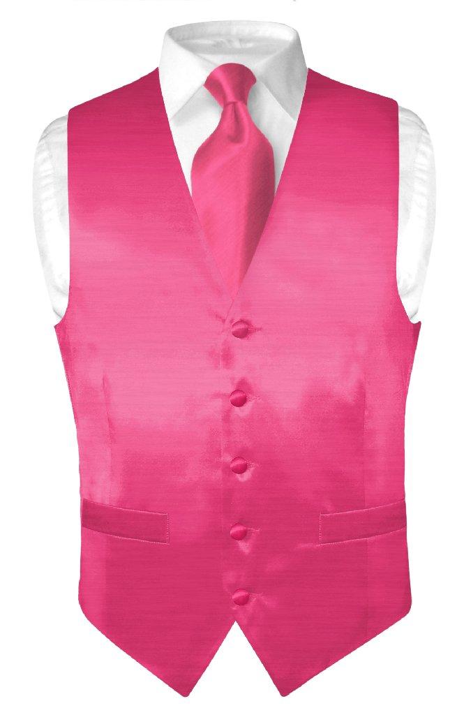 Biagio Men's Solid HOT PINK FUCHSIA BAMBOO SILK Dress Ves...