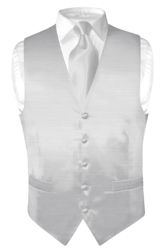 Biagio Men's Solid SILVER GREY BAMBOO SILK Dress Vest Nec...