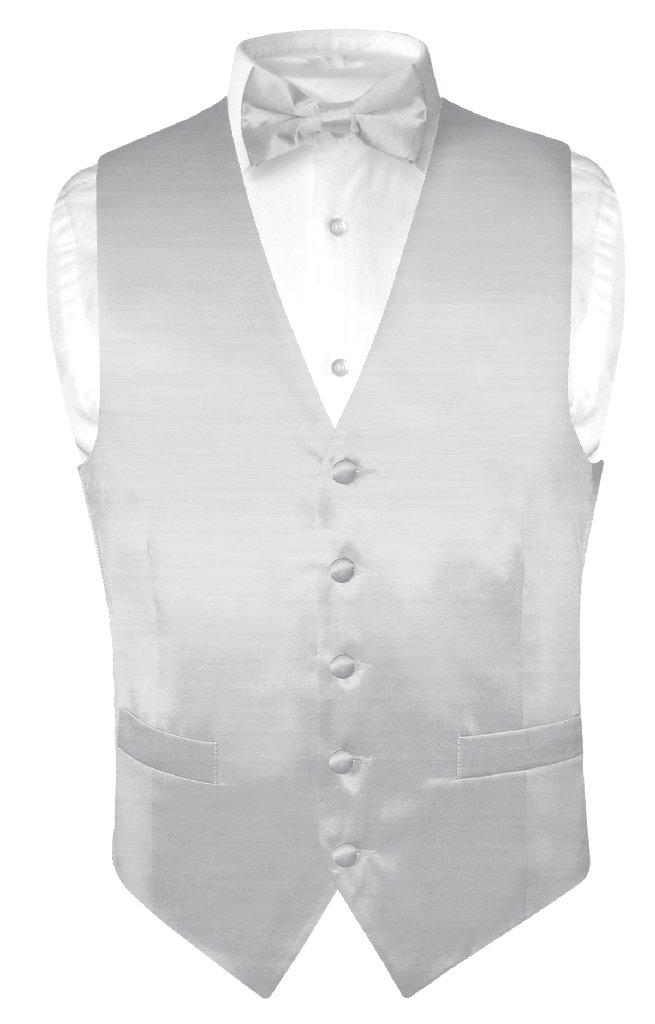 Biagio Men's Solid SILVER GREY BAMBOO SILK Dress Vest Bow...