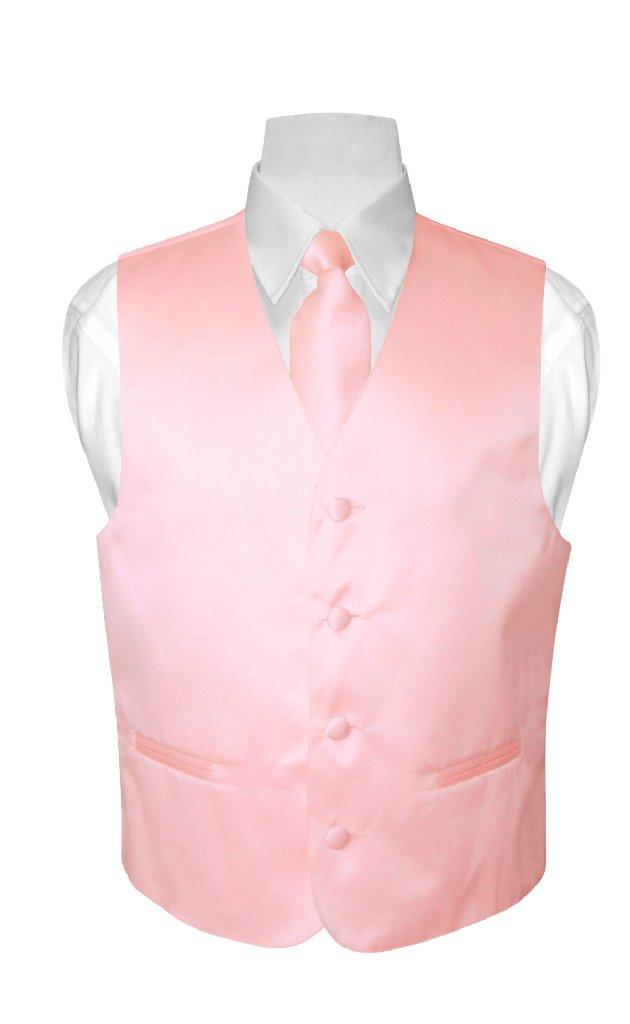 BOY'S Dress Vest & NeckTie Solid PINK Color Neck Tie Set ...