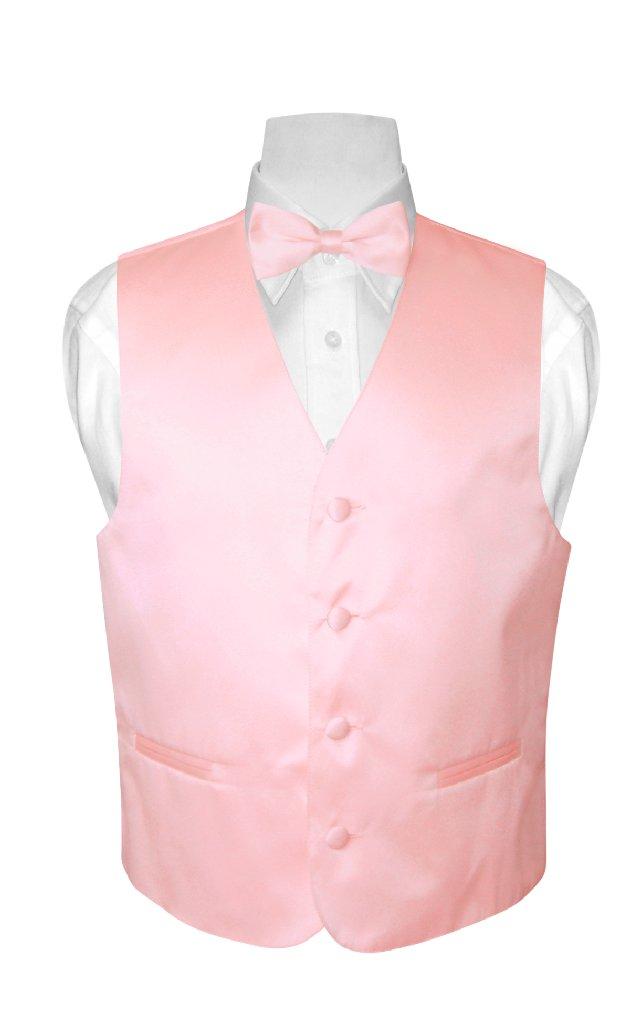 BOY'S Dress Vest & BOW TIE Solid PINK Color Bow Tie Set s...