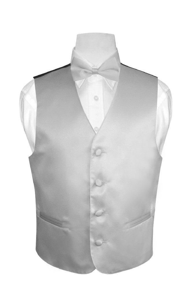 BOY'S Dress Vest & BOW TIE Solid SILVER GREY Color Bow Ti...