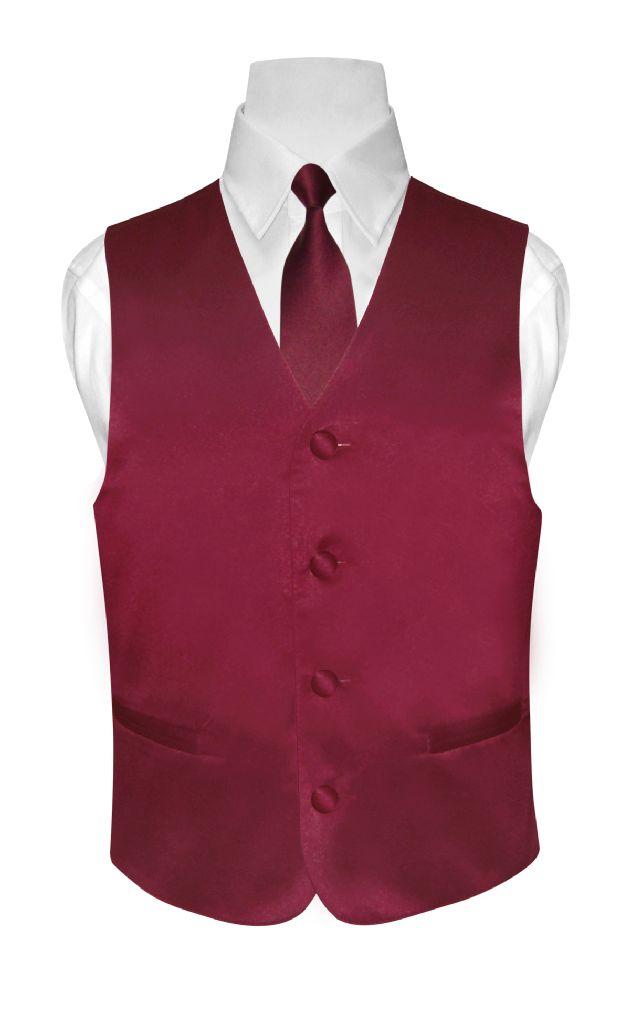 BOY'S Dress Vest & NeckTie Solid BURGUNDY Color Neck Tie ...