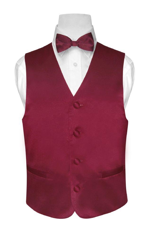 BOY'S Dress Vest & BOW TIE Solid BURGUNDY Color Bow Tie S...