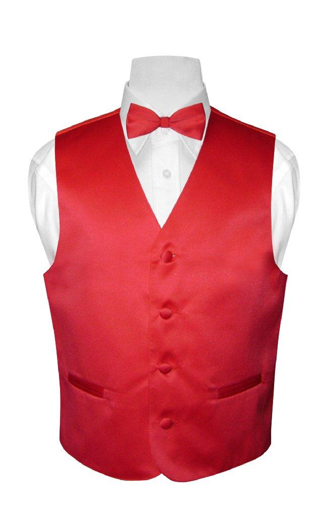 BOY'S Dress Vest & BOW TIE Solid RED Color Bow Tie Set si...